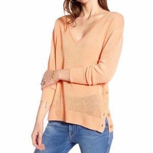 J Crew Side Button Linen Blend V Neck Sweater Sz L